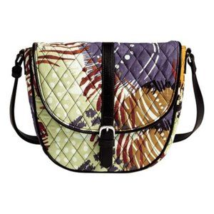 Vera Bradley Painted Feather Slim Saddle Bag